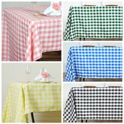 """60x126"""" Checkered Gingham Tablecloth Polyester Rectangular L"""