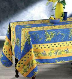 60X80 RECTANGLE FLORAL LEMONS BLUE / YELLOW COUNTRY FRENCH P