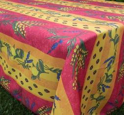 60X96 RECTANGLE FLORAL LEMONS RED / YELLOW COUNTRY FRENCH PR