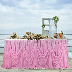 6ft Pink Tulle Tutu Table Skirts For Rectangle Round Ruffle