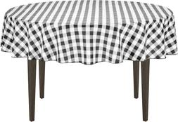 Linentablecloth 70-Inch Round Polyester Tablecloth Black &Am