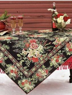 """April Cornell 70"""" Round Tablecloth Black With Floral Pattern"""