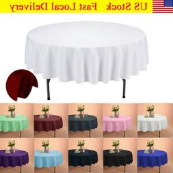 "VEEYOO 70"" Round Tablecloth Linen Table Cover for Weddings P"
