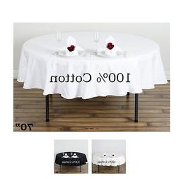 "70"" Round Tablelinens Commercial grade 100% Cotton Tableclot"