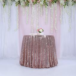 "72"" Rose Gold Sequin Tablecloth Round Wedding Party Banquet"