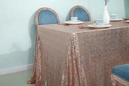 """72''x72"""" Rose Gold Square Sequin Tablecloth Wedding Table Cl"""
