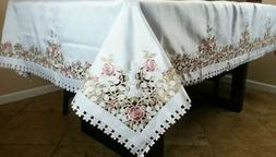 "72x72"" Square Embroidery Polyester Fabric Floral Rose Cutwor"