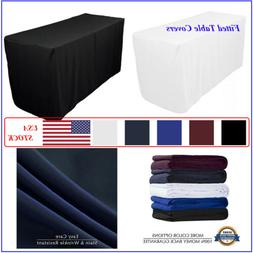 4/6/8 FT Fitted Tablecloth RectangleTable Cover for Wedding