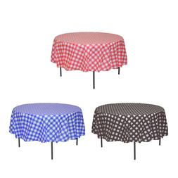 "84"" Round Plastic Tablecloths Tablecovers Disposable Gingham"
