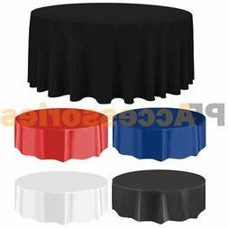 "84"" Round Tablecloth Plastic Banquet Party Table Cover Vinyl"