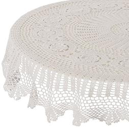 SARO LIFESTYLE 869 Crochet Tablecloths, 45-Inch, Round, Whit
