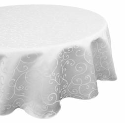 90 Inches Damask White Cotton Polyester Round Tablecloth Cov