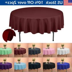 """90"""" Round Polyester Tablecloths Table Cover for Wedding Part"""