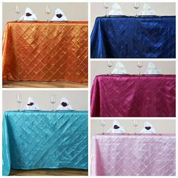 """90"""" x 156"""" PINTUCK Tablecloth Wedding Party Banquet Catering"""