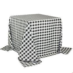 90 x 90 inch Square Polyester Tablecloths Checkered Black
