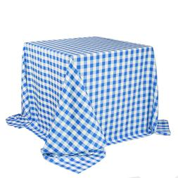 90 x 90 inch Square Polyester Tablecloths Checkered Royal Bl