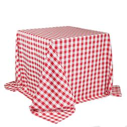 90 x 90 inch Square Polyester Tablecloths Checkered Red