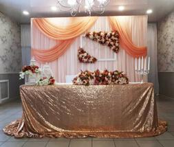 "90""x132"" Rose Gold Sequin Tablecloth Wedding Sequin Table Li"