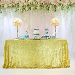 "90""x132"" Gold Sequin Tablecloth Table Cover Wedding Banquet"