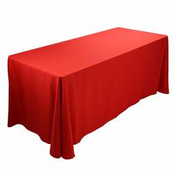 """90""""x132"""" Red Polyester Tablecloth Table Cover Wedding Birthd"""