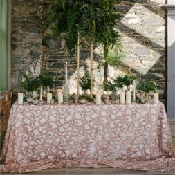 "90""x132"" Rose Gold Vine Tablecloth Rectangle Sequin Table Ov"