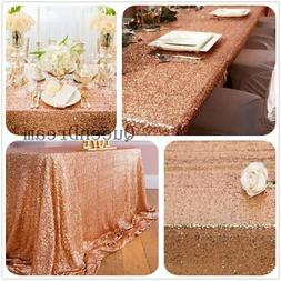 "QueenDream 90""x132"" Sequin RECTANGULAR Tablecloth-Rose Gold"