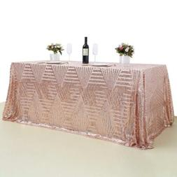 """90""""x156"""" Geometric Pattern Sequin Tablecloth Rose Gold Table"""