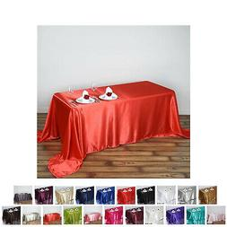 "90x132"" Rectangle Satin Tablecloth For Wedding Party Banquet"