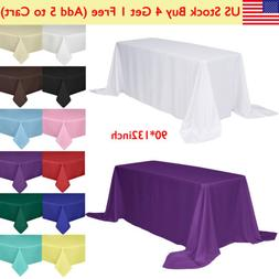 "90x132"" Rectangle Tablecloth Poly Table Cover for Wedding Pa"