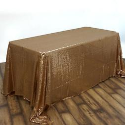 """90x156"""" Gold SEQUIN RECTANGLE TABLECLOTH Wedding Party Cater"""