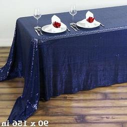 "90x156"" Navy Blue SEQUIN RECTANGLE TABLECLOTH Wedding Party"