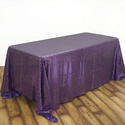 "90x156"" Purple SEQUIN RECTANGLE TABLECLOTH Wedding Party Cat"