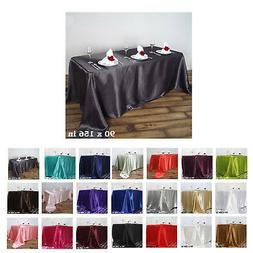"90x156"" Rectangle Satin Tablecloth For Wedding Party Banquet"
