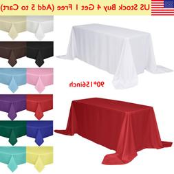 "90x156"" Rectangle Tablecloth Poly Table Cover for Wedding Pa"