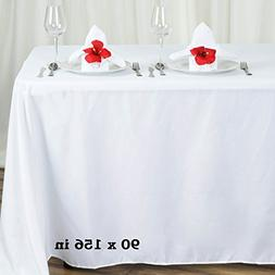 BalsaCircle 90x156-Inch White Rectangle Polyester Tablecloth