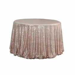 BalsaCircle TRLYC Round Cake Sequin Rose Gold Sequin Tablecl