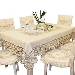 Brown Flower Embroidered lace Cream Tablecloth Rectangular 6
