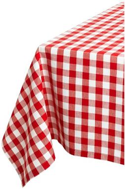 """DII 60x84"""" Rectangular Cotton Tablecloth, Red & White Check"""