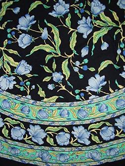 "India Arts French Floral Round Cotton Tablecloth 70"" Blue on"