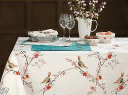 """LENOX CHIRP SIMPLY FINE SPILL PROOF TABLECLOTH 60x120"""" & 12"""