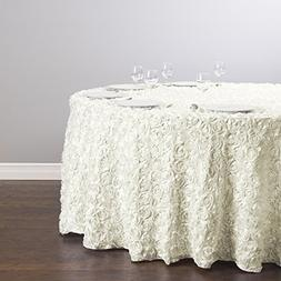LinenTablecloth Rosette Satin Round Tablecloth, 130-Inch, Iv