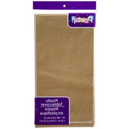 PACK OF 4: Disposable DARK GOLD Plastic Tablecloths / Table