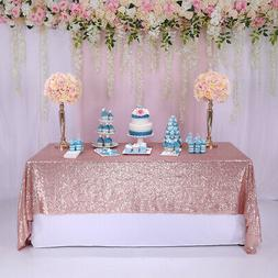 "60""x102'' Rose Gold Sparkly Sequin Tablecloth Rectangle Wedd"