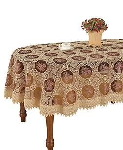 Simhomsen Vintage Burgundy Lace Tablecloth Embroidered Oval