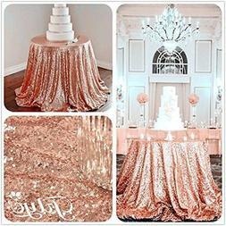 "TRLYC 120"" Round Rose Gold Sequin Table Cloth For Wedding Pa"