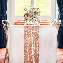 TRLYC 14X108-Inch Real Rose Gold Sequins Square Tablecloths