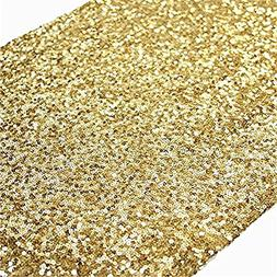 TRLYC, Vintage, Gold Sequin Table Runners, 13''x60'' Gold Se