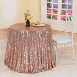 "Trlyc 108"" Rose Gold Sequin Round Tablecloth Wedding Party H"