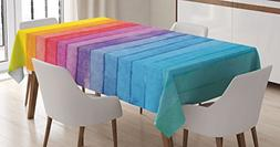 Ambesonne Abstract Decor Tablecloth by, Rainbow Colored Hori