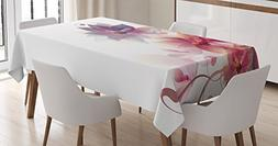 Ambesonne Abstract Decor Tablecloth, Modern Floral Design wi